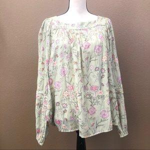 LC Lauren Conrad long sleeves blouse floral Sz XL